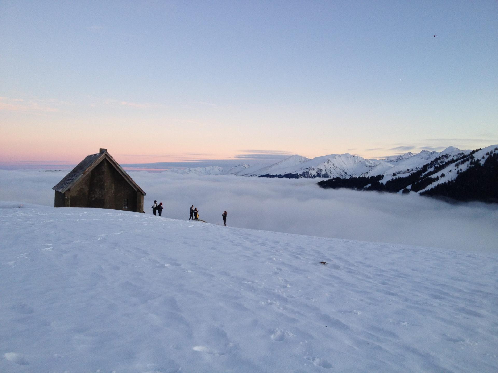 Cabane de L'Escalette: couché de soleil sur mer de nuage